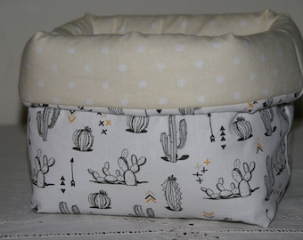 Cactus black and white quilted fabric basket Organizer