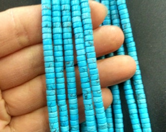 Blue Turquoise Stone Heishi beads 2x4mm- approx 170pcs/Strand