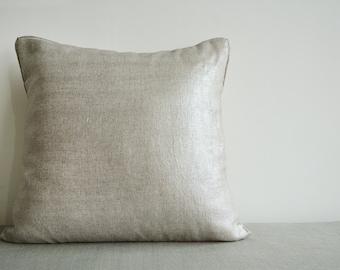 Silver Foil Metallic Pillow Cover , Decorative Pillow , Throw Pillow , Cushion Cover