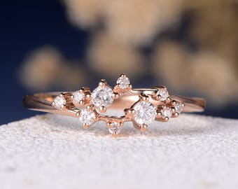 Engagement Ring Diamond Cluster Ring Twig Floral Unique Wedding Band Snowflake Rose Gold Dainty Flower Mini Gift Anniversary Promise Women