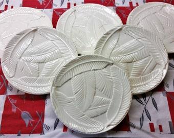 KAKUJU JAPAN White Feather Embossed Dessert Plates Set of 6 stoneware