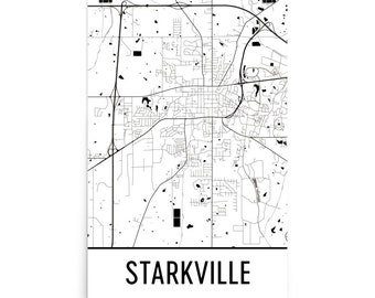 Starkville Map, Starkville Art, Starkville Print, Starkville MS Poster, Starkville Wall Art, Map of Starkville, Starkville Gift, Decor, Map