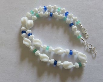 Czech white glass twist bead necklace  - White bead & colored sea glass seed bead necklace - Classic Jewelry
