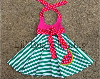 Watermelon Strip Dress, Girls Hot Pink Green Comfy Knit Watermelon Dress, Watermelon Pageant Wear Dress