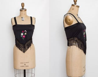 vintage 80s fringe crop top | Fredericks of Hollywood tank | embroidered flowers and butterfly