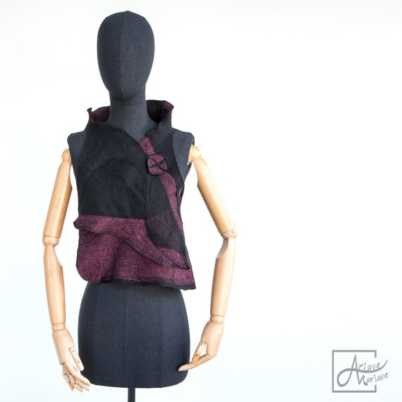 Outstanding Wearable Art Vest - Felted Merino Wool Woman Vest - black purple nuno felt - Paris Design - Reversible Women Vest / Bolero