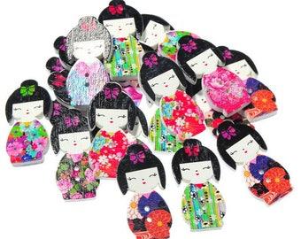 Lot 6 shaped kokeshi wooden buttons