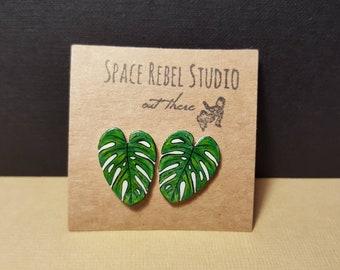 Monstera Stud Earrings ~ Tropical Jewelry ~ Jungle Leaf ~ Rainforest ~ Botanical ~ Large