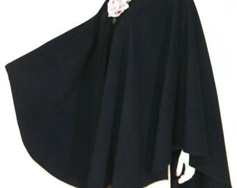 Elegant Black Cape Ruana Wrap Coat Wool Cashmere Blend by Maya Matazaro Made in USA
