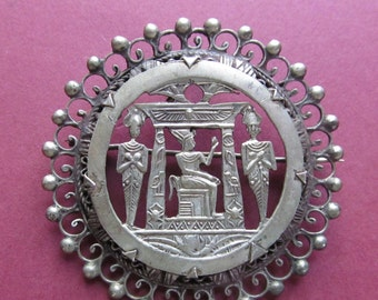 Vintage Silver Egyptian Queen Brooch Pin Jewelry
