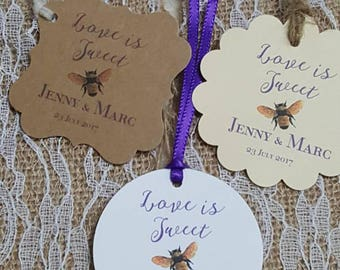 "Personalized Favor Tags 2x2"" or 2"", Wedding tags, Thank You tags, Favor tags, love is sweet, Bridal Shower,  meant to bee, meant to be"