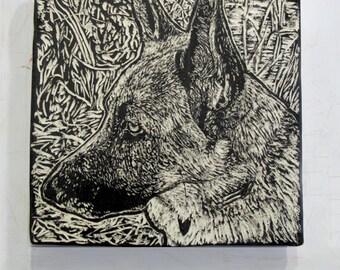 Custom Pet Portrait - Original Ceramic Tile from your Photo ~ Handmade Sgraffito Art ~ Cat, Dog, Bird, as Gift, Memento, OOAK ©Glenda Puhek