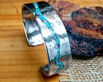 Turquoise Stainless Cuff Bracelet.  2 X18 mm Thick and Wide.