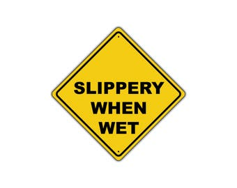 Slippery When Wet Rain Road Warning Traffic Metal Aluminum Sign 12x12
