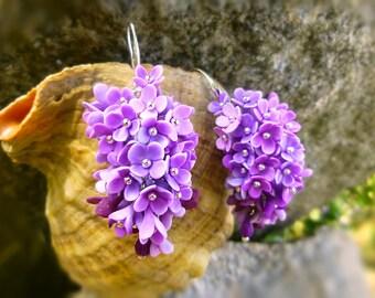 Flowers earrings Lilac earrings Purple earrings Floral Shades of Purple Earrings Amethyst Cluster Earrings gift for her Gift for girls
