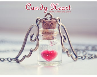Heart necklace, Heart bottle necklace, heart jewelry, love necklace, miniature jewelry, love potion vial, girlfriend gift for women