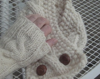 Knitting Patterns Cabled Neck Warmer and Fingerless Mitts