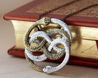 A Token from an Infinite Story | Auryn Necklace | 80's Fantasy Charm Pendant | Double Snake Necklace - PLEASE READ DISCLAIMER -