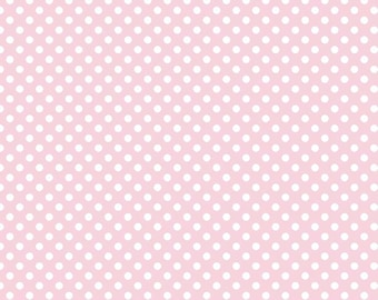 Small Baby Pink with White Dots 100% Cotton Riley Blake Fabric by the 4th, Half, 3/4 and Yard Sewing/ Quilting/ Crafting/ Applique Sewing