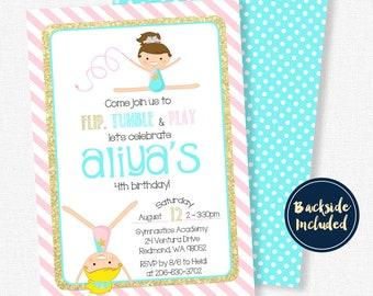 Gymnastics Birthday Invitation, Gymnastics Party Invitation, Girl Birthday Invitation, Pink and Gold Gymnastics Invitation