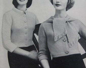 Knit Sweater Patterns - 2 Vintage Patterns, 1960's Women's Knit Sweaters PDF Patterns 733-13, 733-14