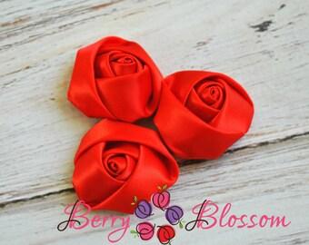"4pc Red Satin Rosette - 2"" inch satin rose flowers - satin smooth rosette"