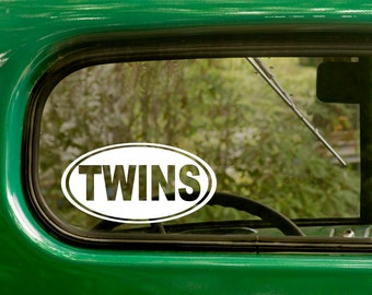 Oval Twins Decal, Car Decal, Twins Sticker, Euro Decal, Laptop Sticker, Oval Sticker, Bumper, Vinyl Decal, Car Sticker