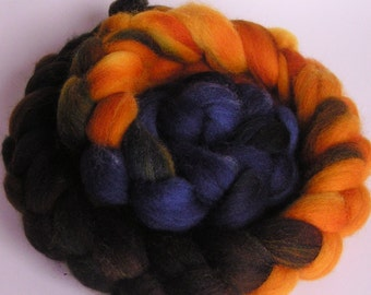 Roving Fiber Top Wool Falkland  DRAGON SLAYER 4 oz Easy Spin Felt Knit Weave Craft Gold Brown Blue Nuno Phat Fiber Feature January spinning