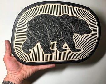 Hand Carved Black Bear Woodcut Wall Art