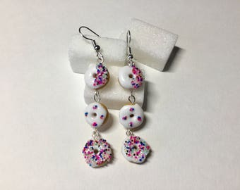 Trio of donuts polymer clay earrings