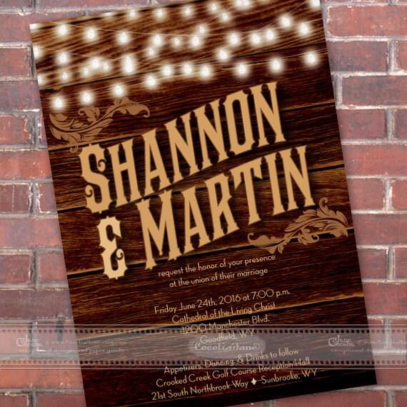 wedding invitations, western wedding, barnwood wedding invitations, outdoor wedding, wedding invitation with string lights, IN460