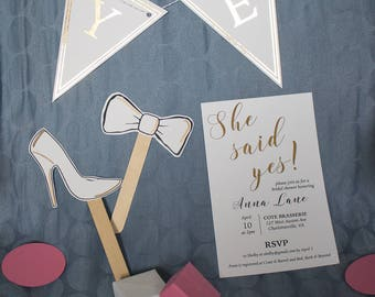 She said yes bridal shower kit   invitations, decor, games and favors