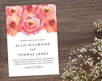 Pink Roses Wedding Invitation, Watercolor Floral Wedding Invitation