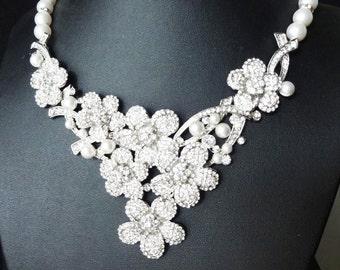 Statement Pearl & Crystal Bridal Necklace, Crystal Flower Bib Wedding Necklace, Rhinestone Wedding Jewelry, Crystal Bridal Jewelry, DELIA