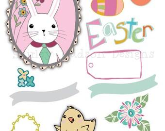 Spring Easter illustrations png files - 13 designs Clip art chick banner artwork