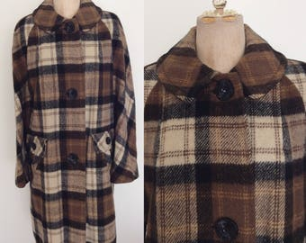 1970's Brown & Black Plaid Wool Coat Size Large by Maeberry Vintage