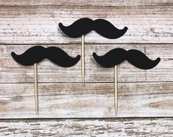 24 Mustache Cupcake Toppers