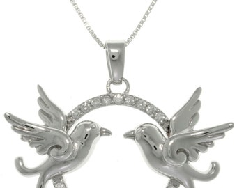 Jewelry Trends Sterling Silver CZ Love Birds Necklace