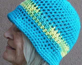 Chemo hats, unique crochet 100% cotton hats, free shipping USA, original handmade hat, bright turquoise, yellow and lime green, summer hat