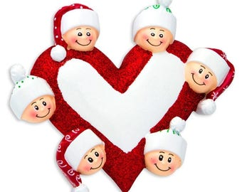 Heart with Faces 6 Personalized Christmas Ornament