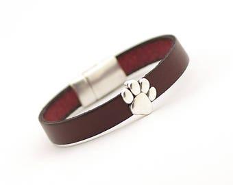 Cat dog lover Jewelry, Pet Lover Bracelet, Animal Bracelet, Puppy Jewelry, Gift for Animal Lover, Paw Print Bracelet, christmas gift for men