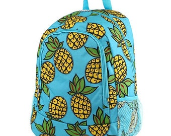 Pineapple Monogram Backpack, Personalized Backpack, Monogram Bookbag, Boys Backpack, Pink Backpack, Kids Backpack, School Backpack