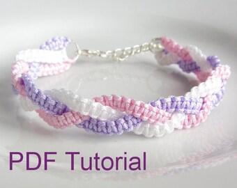 PDF Tutorial Braided Square Knot Macrame Bracelet Pattern, Instant Download Bracelet Tutorial, DIY Knotted Friendship Bracelet