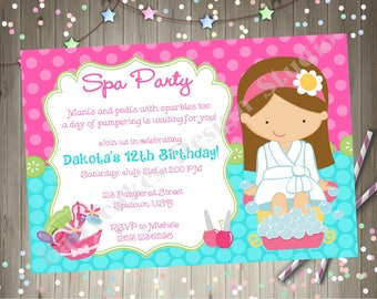 Spa party invitation etsy spa party birthday invitation invite spa birthday party invitation spa party invitation printable choose your girl filmwisefo Gallery