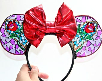 Stained Glass beauty and the Beast Minnie Ears, Mickey Ears, Mouse Ears, Disney Ears, Disney Princess, Belle, Tale as old as time, BATB