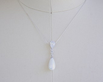 Sterling Silver Pearl Drop Necklace Bridal Necklace Art Deco Best Pearl Drop Pendant Necklace
