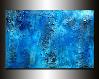 Texture BLUE Abstract Painting, Contemporary Modern art by Henry Parsinia