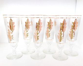 Libbey Vintage Golden Foliage Pilsner Glasses Vintage Gold Leaf Glasses