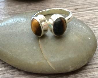 Tigers eye ring, tiger eye ring, multiple stone ring, boho ring, tiger eye jewelry, statement ring, adjustable ring , stacking rings