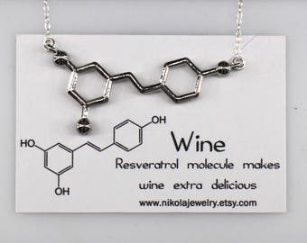 Red Wine Resveratrol Molecule Necklace in Gold or Silver, Chemistry Necklace, Resveratrol, Red Wine, Biology Jewelry, Wine Lovers